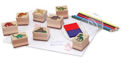 Dřevěná razítka v krabičce - Dino - 2