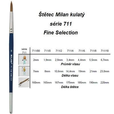 Štětec Milan série 711 - kulatý, č. 0 - 2