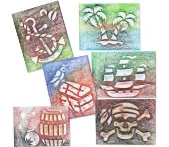 """Šablony na malování 6 ks - sada """"O"""", Piráti - 2"""