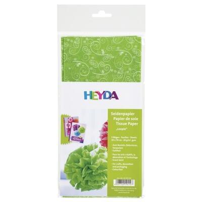 Hedvábný papír 50x70 cm, 20 g/m2, 5 listů - Ornamenty zelený - 2
