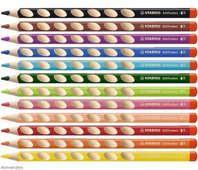 Stabilo EASYcolors 332/12 Pastelky pro praváky - sada 12 ks + ořezávátko - 2