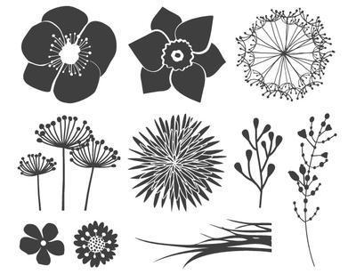 HEYDA Sada razítek - motiv Květiny, 10 ks - 2