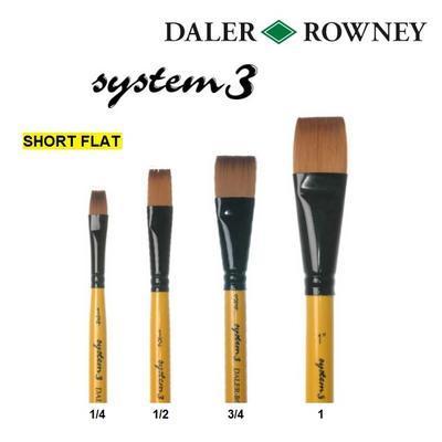 """Daler & Rowney System 3 - Štětec SY55 Short Flat, č. 3/4"""" - 2"""