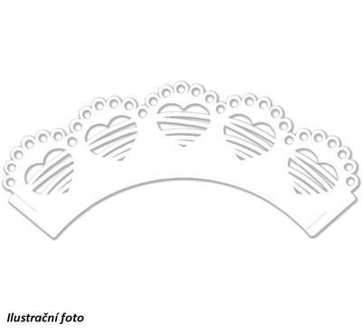 Výřez - Krajka na muffiny srdce, 12 ks - 2