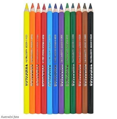 Trojhranné pastelky Triocolor silné - 12 ks lakované - 2