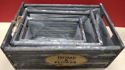 Truhlík dřevo 3 ks 300x210x120 mm, přírodní, šedá - 2