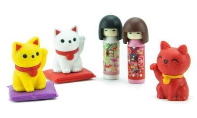 Guma figurky 7ks / blister - Japanese Kokeshi & Lucky cat - 2