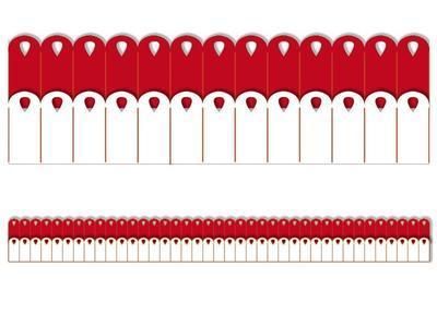 Výřez - Skládané rozety 6, malé, bílé, červené, 8 ks - 2