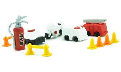 Guma figurky 7ks / blister - nouzová vozidla - 2