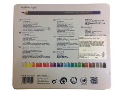 Faber-Castell Pastelky Goldfaber Aqua - 24 ks v kovové kazetě - 3