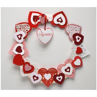 Výřez - Květinové srdce, bílé/červené, 12 ks - 3