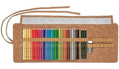 Faber-Castell Pastelky Polychromos 30 ks + příslušenství, rolovací pouzdro - 3