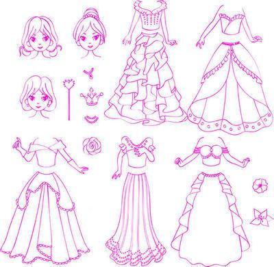 StampoFashion Převlékací panenky - Princezny základní sada - 3