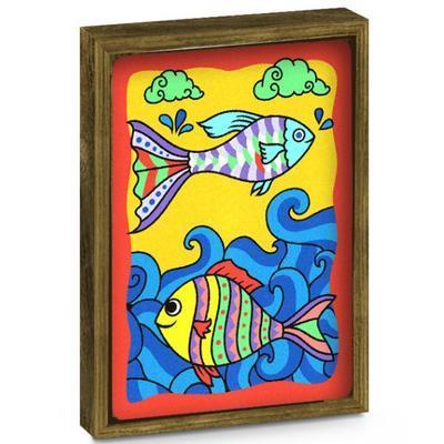 SAND ART - pískování obrázků - 2 obrázky k vypískování + 2 rámečky chameleon a ryby - 4