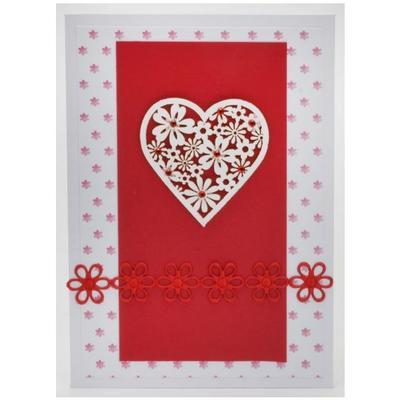 Výřez - Květinové srdce, bílé/červené, 12 ks - 4