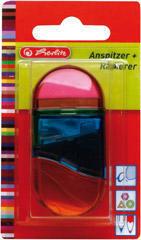 Herlitz Ořezávátko s dózou + guma 2 v 1 - mix barev - 4